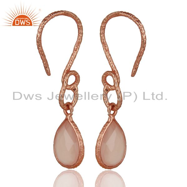 Suppliers 22K Rose Gold Plated Sterling Silver Bezel Set Dyed Chalcedony Dangle Earrings