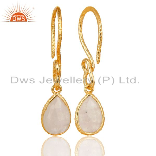 Suppliers 22K Gold Plated Sterling Silver Bezel Set Rainbow Moonstone Dangle Earrings