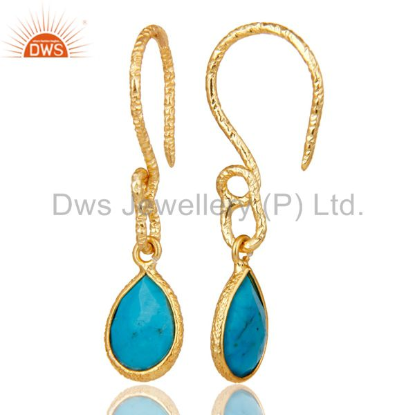 Suppliers 22K Gold Plated 925 Sterling Silver Turquoise Gemstone Bezel Set Drops Earrings
