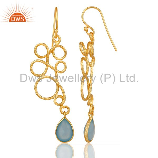 Suppliers 22K Gold Plated 925 Sterling Silver Zig Zag Style Chalcedony Drops Earrings