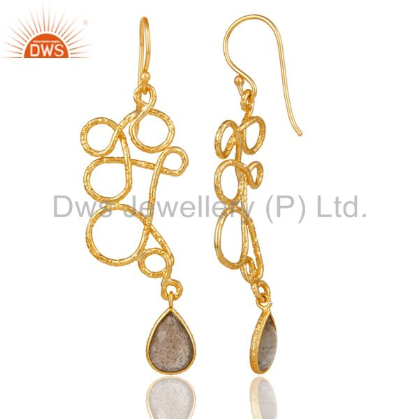 Suppliers 22K Gold Plated 925 Sterling Silver Zig Zag Style Labradorite Drops Earrings