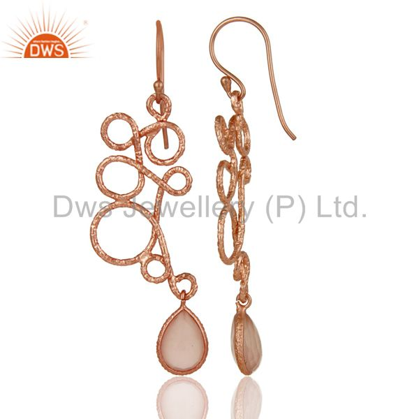 Suppliers 18K Rose Gold Plated 925 Sterling Silver Zig Zag Style Chalcedony Drops Earrings