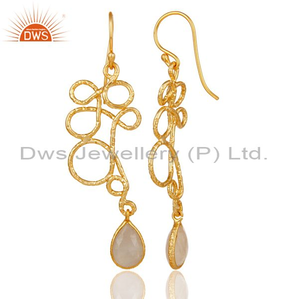 Suppliers 18K Gold Plated 925 Sterling Silver Zig Zag Style Moonstone Drops Earrings