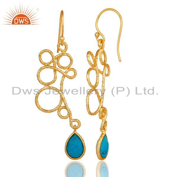 Suppliers 18K Gold Plated 925 Sterling Silver Zig Zag Style Turquoise Drops Earrings