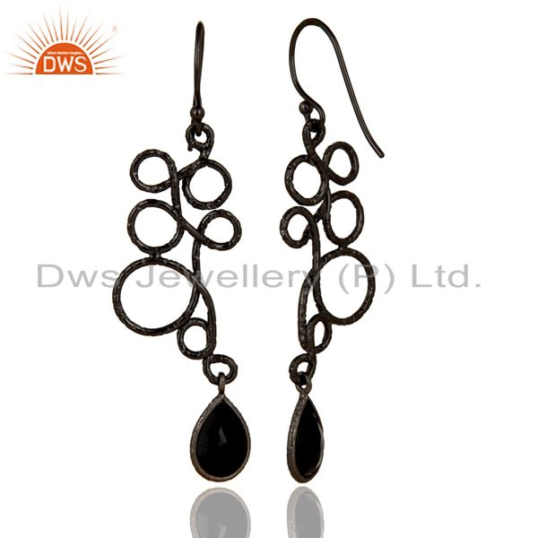 Suppliers Black Oxidized 925 Sterling Silver Zig Zag Style Black Onyx Drops Earrings