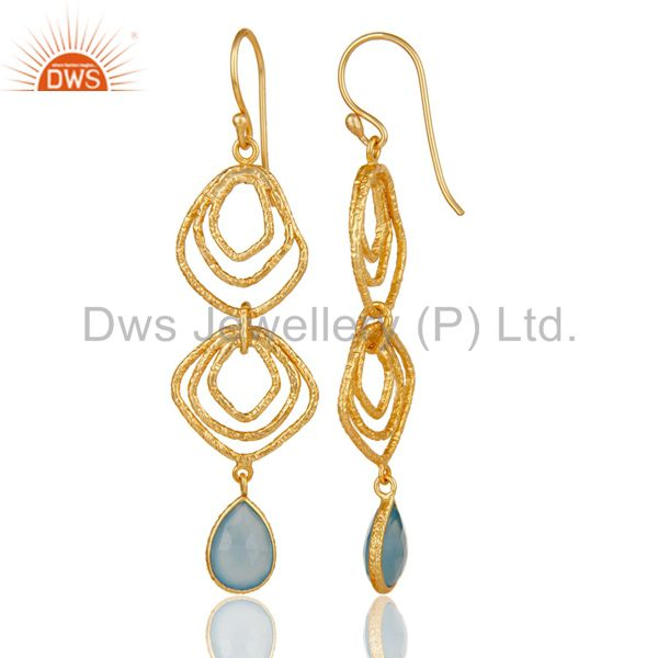 Suppliers Blue Chalcedony Asymmetrical Dangle 14K Gold Plated 92.5 Sterling Silver Earring