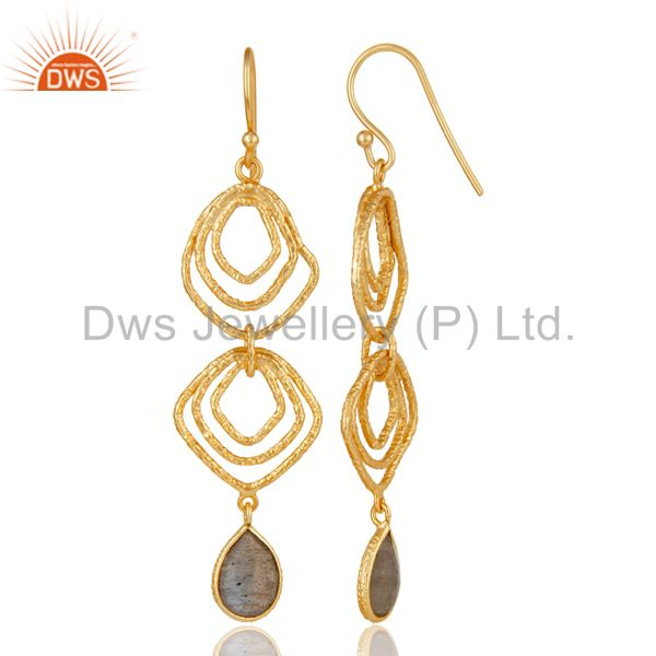 Suppliers Labrodorite Asymmetrical Dangle 14K Gold Plated 92.5 Sterling Silver Earring
