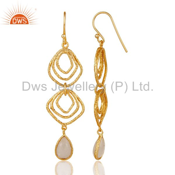 Suppliers Rainbow Moon Stone Asymmetrical Dangle 14K Gold Plated 92.5 Silver Earring