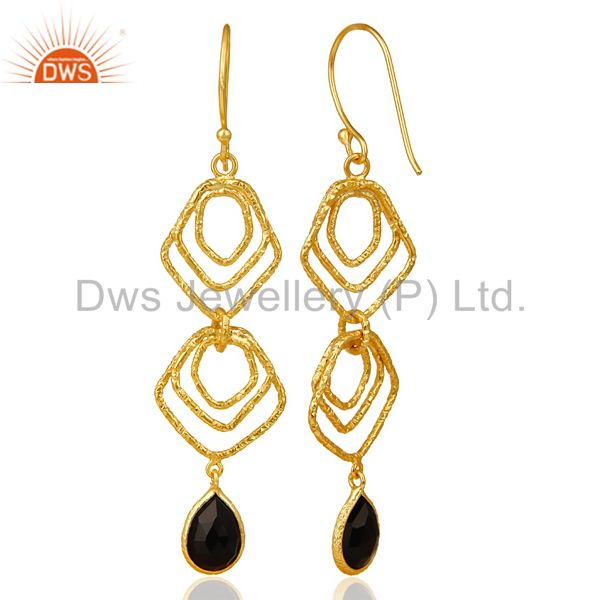 Suppliers Black Onyx Asymmetrical Dangle 14K Gold Plated 92.5 Sterling Silver Earring
