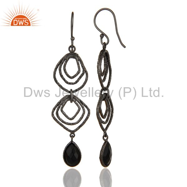 Suppliers Black Onyx Asymmetrical Dangle Oxodized 92.5 Sterling Silver Earring