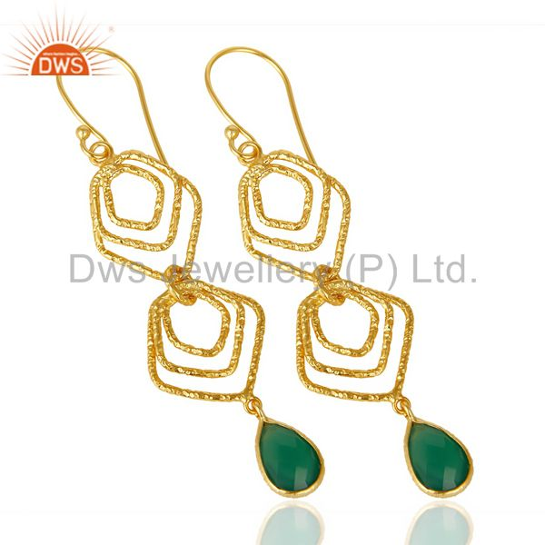 Suppliers Green Onyx Asymmetrical Dangle 14K Gold Plated 92.5 Sterling Silver Earring