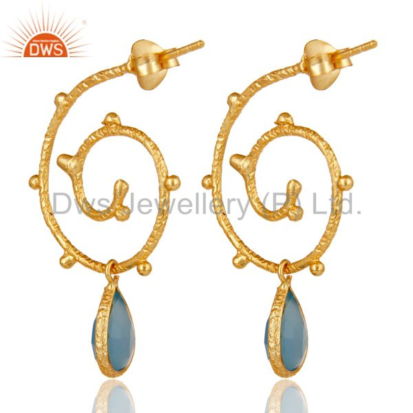 Suppliers 18k Gold Plated Sterling Silver Dyed Chalcedony Wedding Style Bezel Set Earrings