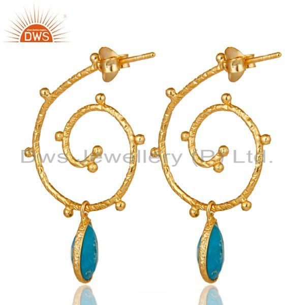 Suppliers 18k Gold Plated 925 Sterling Silver Turquoise Wedding Style Bezel Set Earrings