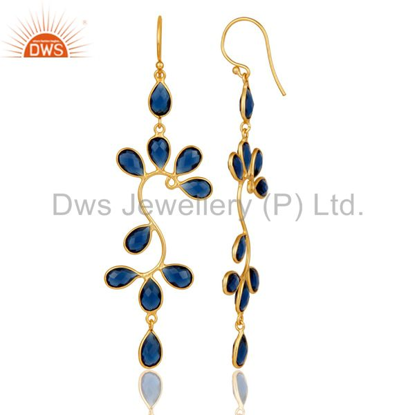 Suppliers 18K Yellow Gold Plated 925 Sterling Silver Blue Corrundum Dangle Earrings