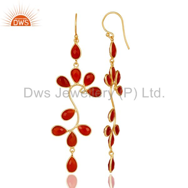Suppliers 18K Yellow Gold Plated 925 Sterling Silver Red Onyx Gemstone Dangle Earrings