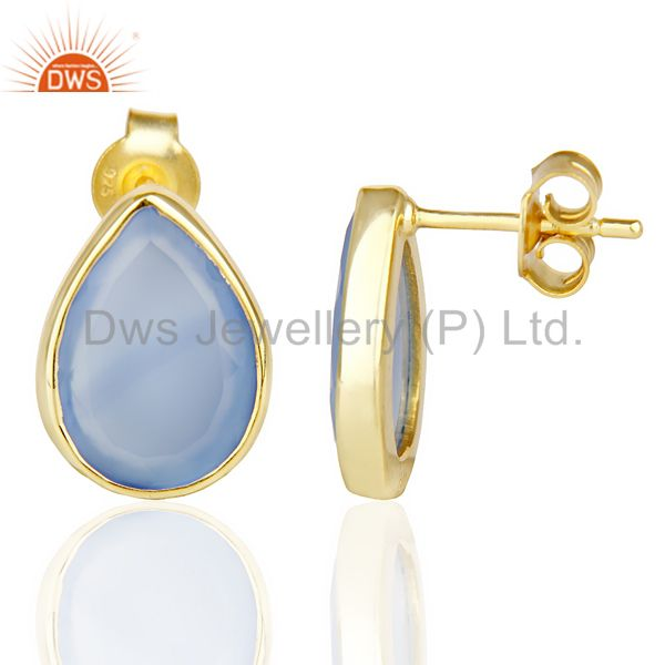 Suppliers Blue Chalcedony Pear Shape Flat Back Gold Plated Stud Earring In Silver