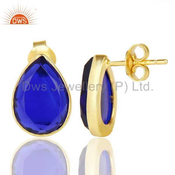 Suppliers Blue Corundum Pear Shape Flat Back Stud 14K Gold Plated 92.5 Silver Earring