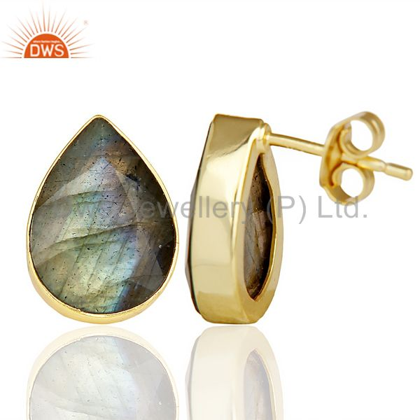 Suppliers Natural Labrodorite Pear Shape Flat Back Gold Plated Stud Earring In Silver