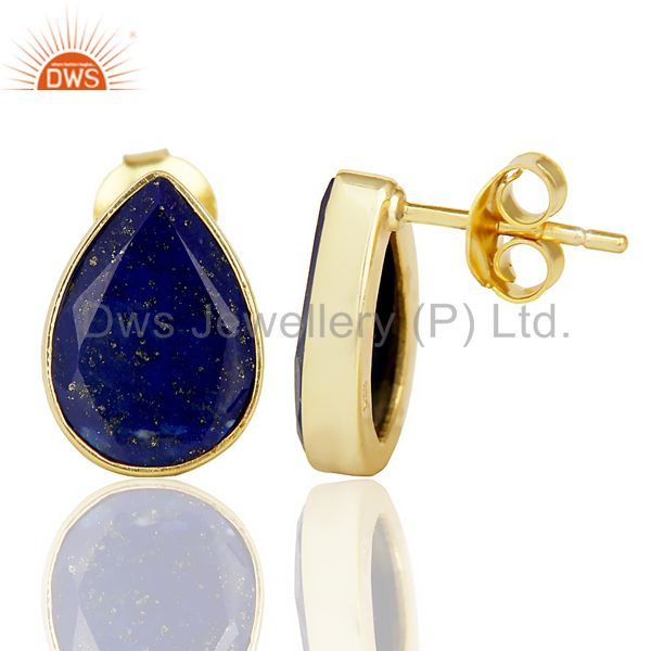 Suppliers Natural Lapis Pear Shape Flat Back Gold Plated Stud Earring In Solid Silver