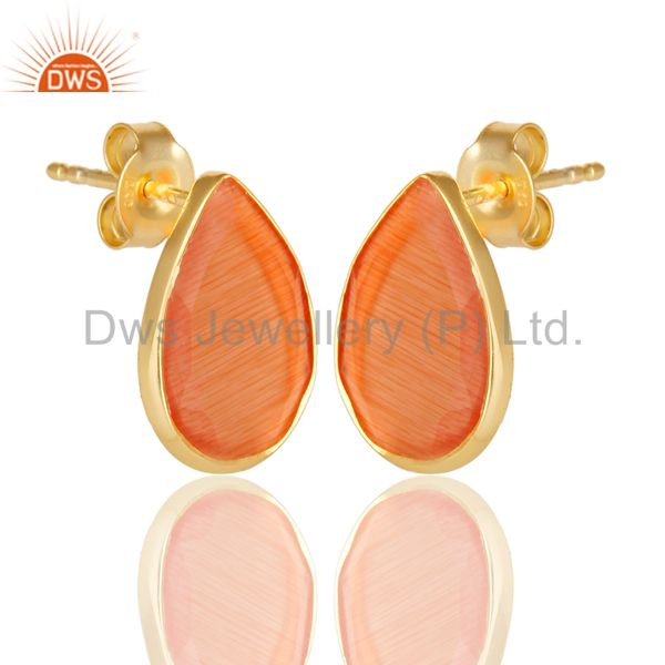 Suppliers 14K Gold Plated 925 Sterling Silver Pear Style Peach Moonstone Studs