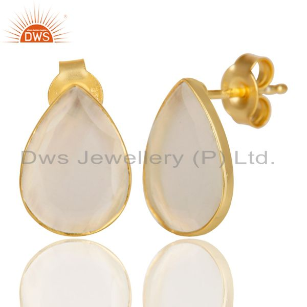 Suppliers 14K Gold Plated 925 Sterling Silver Pear Style White Moonstone Studs