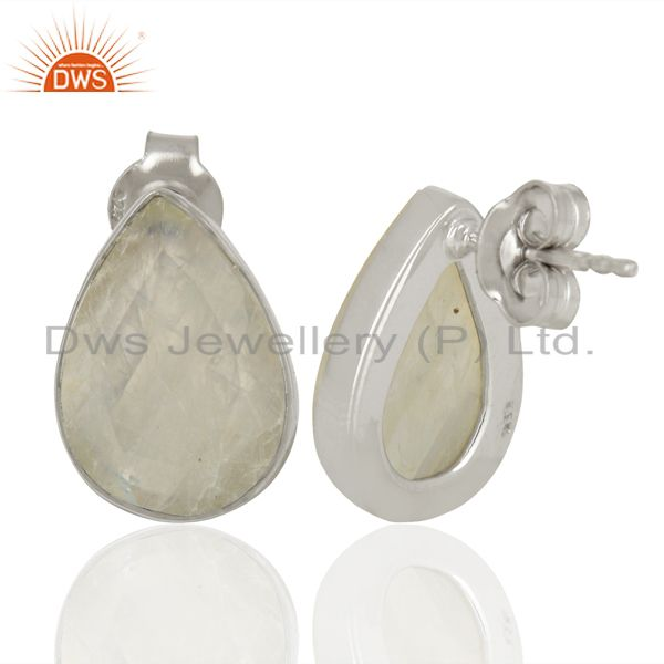 Suppliers Rainbow Moonstone Sterling Fine Silver Stud Earrings Manufacturer