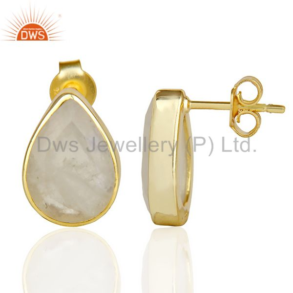 Suppliers Natural Rainbow Moon Stone Pear Shape Flat Back Gold Plated Stud Earring