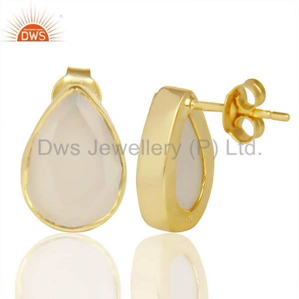 Suppliers White Chalcedony Pear Shape Flat Back Stud 14K Gold Plated 92.5 Silver Earring