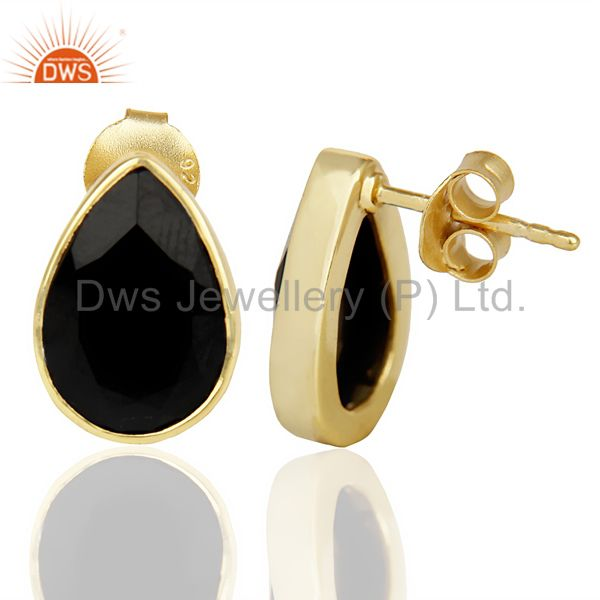 Suppliers Black Onyx Pear Shape Flat Back Gold Plated Stud Earring In Solid Silver