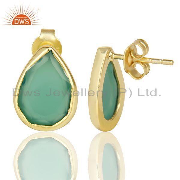 Suppliers Green Onyx Pear Shape Flat Back Stud 14K Gold Plated 92.5 Silver Earring