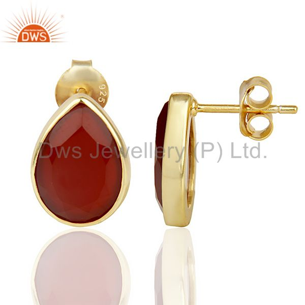 Suppliers Red Onyx Pear Shape Flat Back Gold Plated Stud Earring In Solid Silver