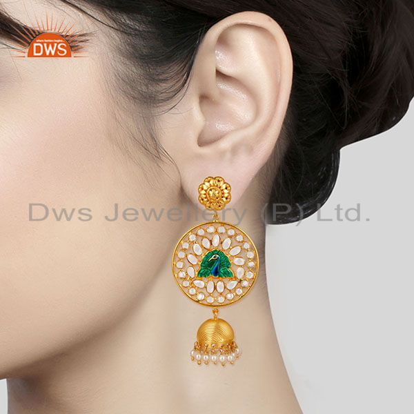 Suppliers 18K Gold Plated 925 Sterling Silver Pearl Beads & White Zircon Jhumka Earrings