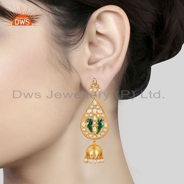 Suppliers 14K Gold Plated 925 Sterling Silver White Zircon & Pearl Beads Jhumka Earrings