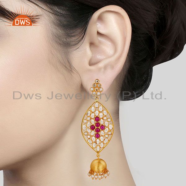 Suppliers 14K Gold Plated Sterling Silver White Zircon, Pearl & Red Glass Jhumka Earrings