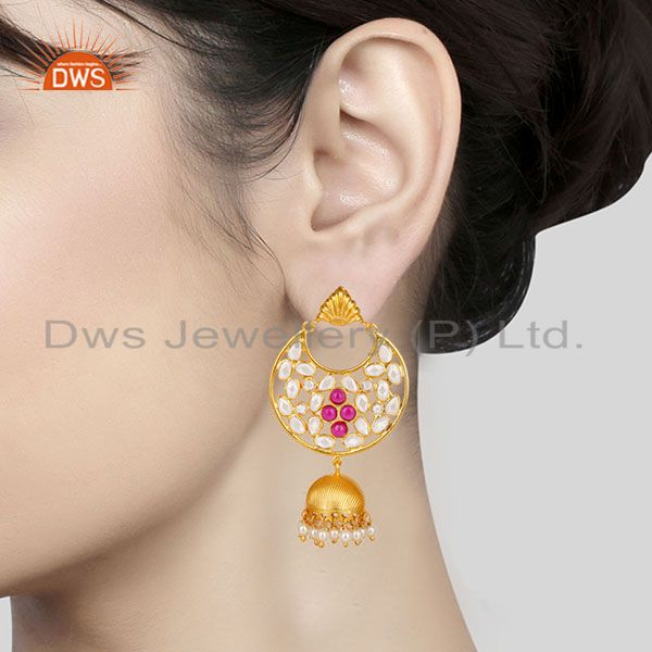 Suppliers 18K Gold Plated Sterling Silver White Zircon, Pearl & Red Glass Jhumka Earrings