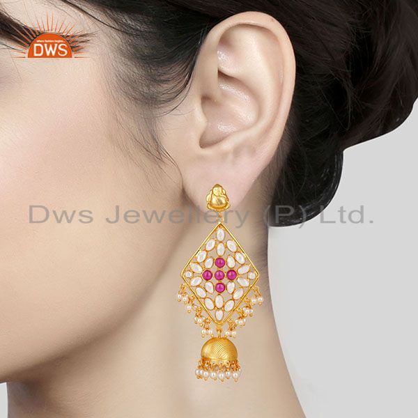 Suppliers 18K Gold Plated 925 Sterling Silver Pearl Beads, Red Glass & CZ Jhumka Earrings