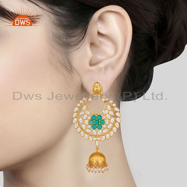 Suppliers 18K Gold Plated 925 Sterling Silver Pearl, Green Glass & CZ Jhumka Earrings