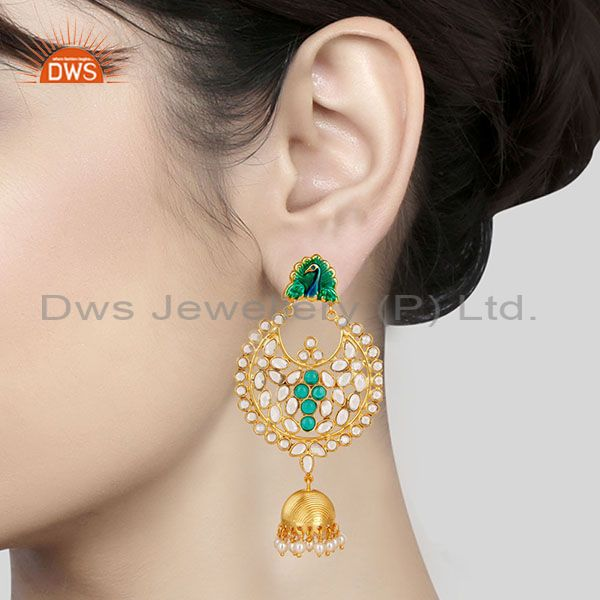 Suppliers 14K Gold Plated 925 Sterling Silver Pearl, CZ & Green Glass Jhumka Earrings