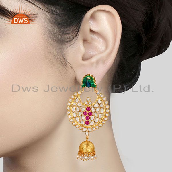 Suppliers 18K Gold Plated Sterling Silver Pearl Beads, Red Glass & CZ Jhumka Earrings