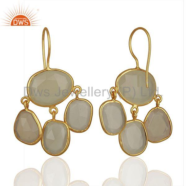 Suppliers White Chalcedony Gemstone Gold Plated 925 Silver Drop Earrings