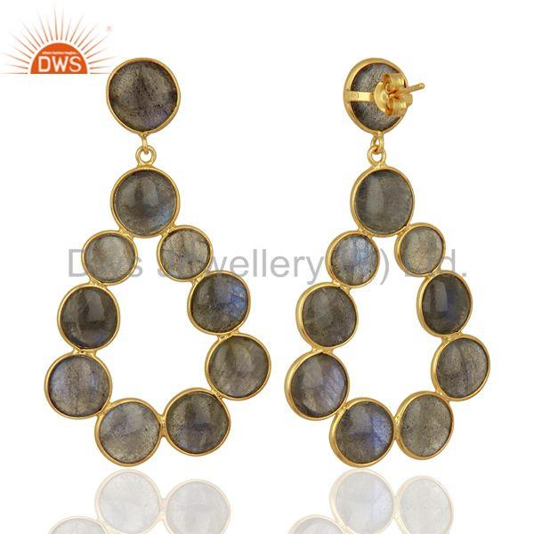 Suppliers Labradorite Gemstone Gold Plated Brass Fashion Earrings Jewelry