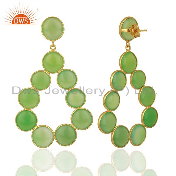 Suppliers Green Chalcedony Dangle 18K Yellow Gold Plated 925 Sterling Silver Earrings