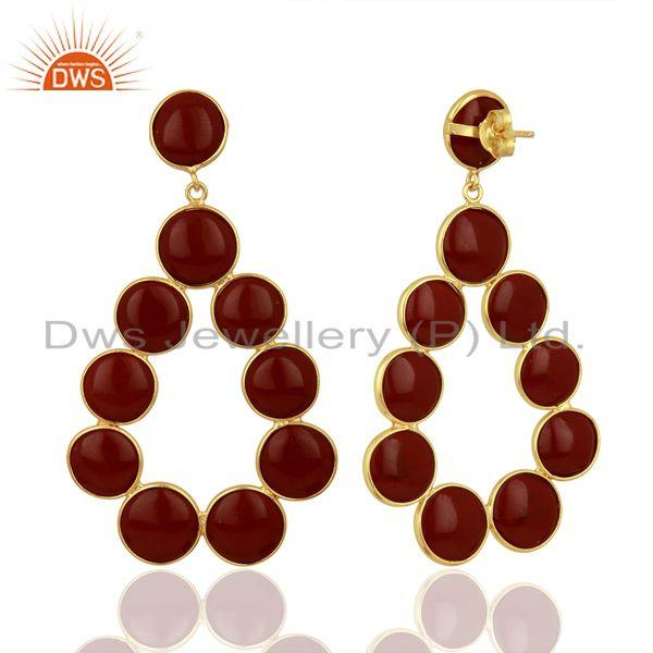 Suppliers Red Jasper Dangle 18K Yellow Gold Plated 925 Sterling Silver Earrings