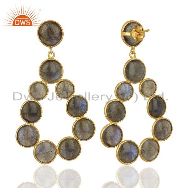 Suppliers Labradorite Dangle 18K Yellow Gold Plated 925 Sterling Silver Earrings