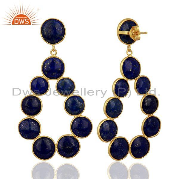 Suppliers Lapis Lazuli Dangle 18K Yellow Gold Plated 925 Sterling Silver Earrings