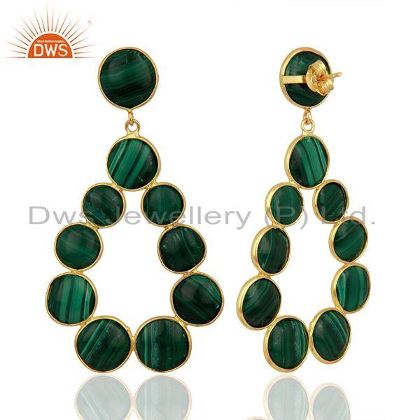 Suppliers Malachite Dangle 18K Yellow Gold Plated 925 Sterling Silver Earrings