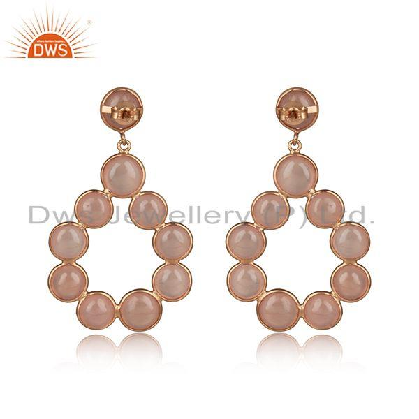 Designer of Rose chalcedony dangle in rose gold on 925 sterling silver