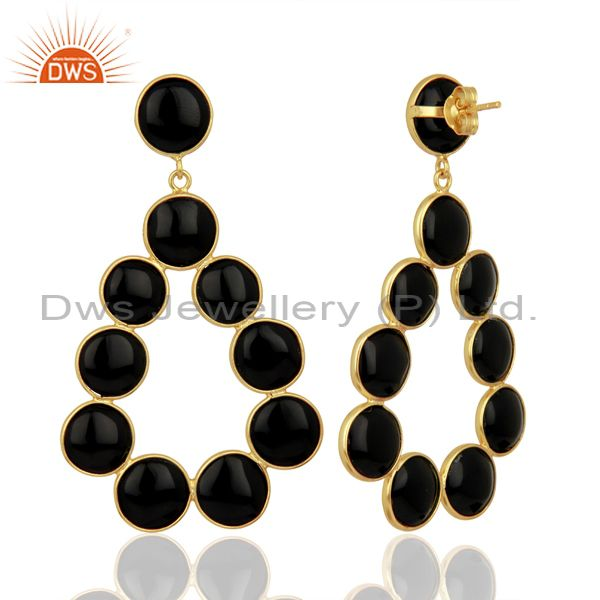 Suppliers Black Onyx Dangle 18K Yellow Gold Plated 925 Sterling Silver Earrings