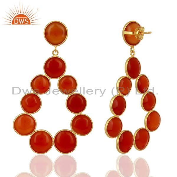 Suppliers Red Onyx Dangle 18K Yellow Gold Plated 925 Sterling Silver Earrings