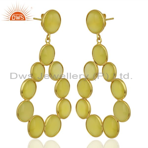 Suppliers Yellow Chalcedony Dangle 18K Yellow Gold Plated 925 Sterling Silver Earrings